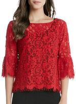 Karen Kane Sheer Rose Lace Top
