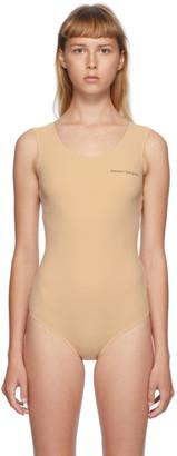 MM6 MAISON MARGIELA Beige Sleeveless Logo Printed Bodysuit