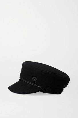 Maison Michel Abby Embellished Wool-felt Cap - Black