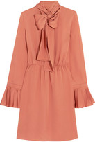 Gucci Pussy-bow Silk-georgette Dress - Coral