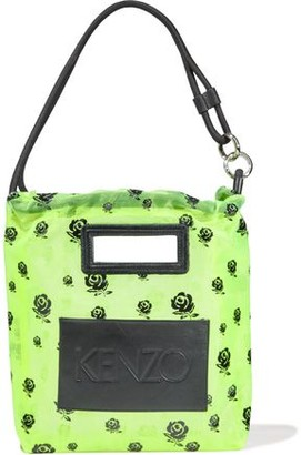 Kenzo Leather-appliqued Floral-print Neon Mesh Shoulder Bag