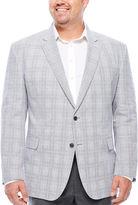 STAFFORD Stafford Linen Cotton Quiet Charcoal Plaid Sport Coat- Big and Tall