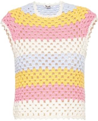 Miu Miu Striped Sleeveless Crochet Top