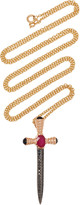 Black Diamond Gavello 14K Gold And Silver Ruby And Chain Necklace