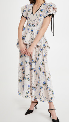Rodarte Blue Floral Printed Silk Dress