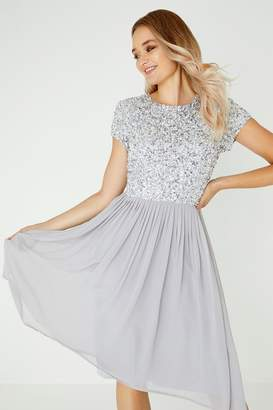Little Mistress Luxury Briella Grey Hand-Embellished Pearl Top Midi Dress