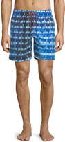 Bugatchi Palm-Tree Print Swim Shorts, Blue