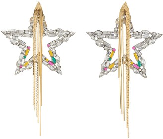 Venna Crystal Star Chain Tassel Drop Earrings