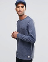 Jack and Jones Navy Long Sleeve Top with Pocket and Bird Print