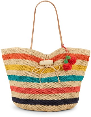 Mar y Sol Rio Striped Straw Tote
