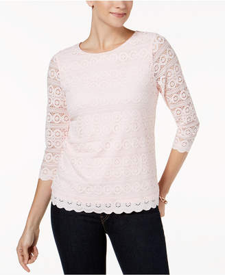 Charter Club 3/4-Sleeve Lace Top