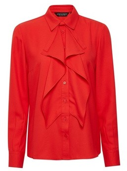 Dorothy Perkins Womens Red Ruffle Front Shirt, Red