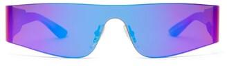 Balenciaga Reflective Shield Acetate Sunglasses - Womens - Purple