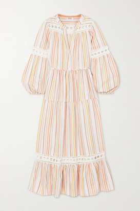 Lemlem Net Sustain Retta Lace-trimmed Metallic Striped Tencel-blend Dress - Pastel pink