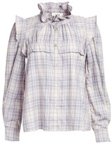 Etoile Isabel Marant Idety Ruffle-Shoulder Flannel Plaid Top