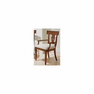 Stanley Furniture Old Town Linen Queen Anne Back Arm Chair in Barrister (Set of 2