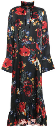 Mother of Pearl Adelaide Ruffle-trimmed Floral-print Silk-satin Midi Dress