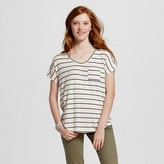 Women's Short Sleeve Striped Drapey Tee - Mossimo Supply Co. (Juniors')