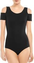Halston Karen Cold-Shoulder Ribbed Jersey Bodysuit