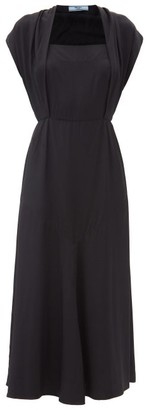 Prada Draped Square-neck Twill Midi Dress - Black
