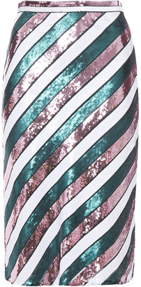Diane von Furstenberg Sequined Striped Silk-chiffon Skirt