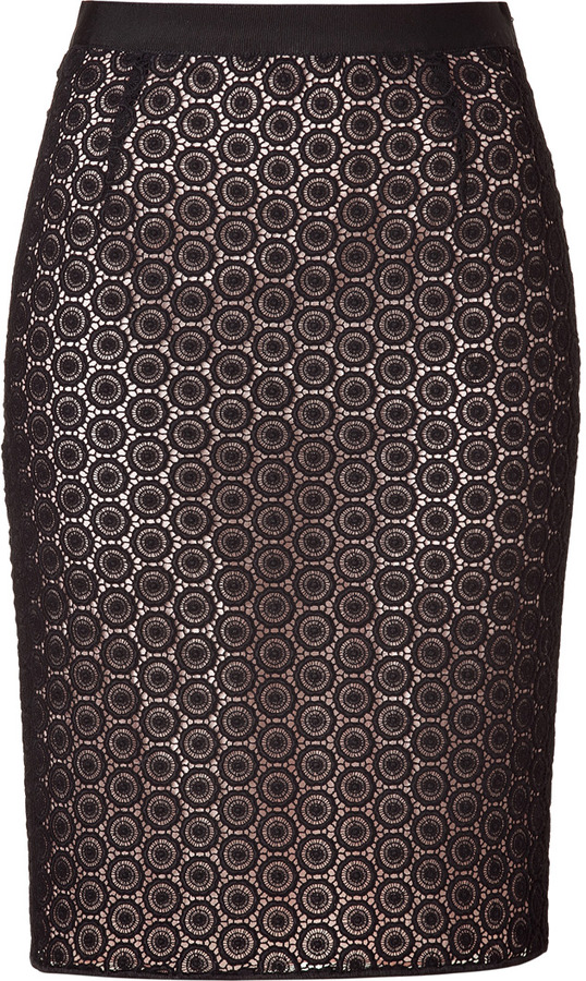 Moschino Cheap & Chic Black and Nude Cotton Lace Skirt