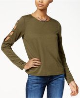 Planet Gold Juniors' Cage-Detailed Long-Sleeved Top