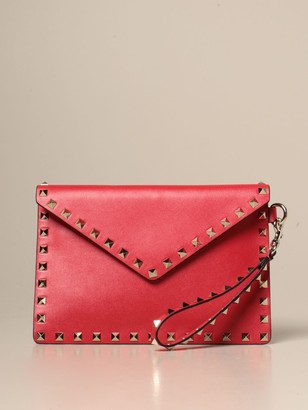 Valentino Rockstud Clutch In Leather With Studs