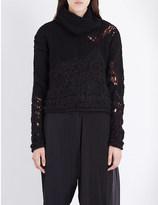 Isabel Benenato Contrast-panel wool-blend turtleneck jumper