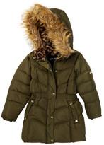 Steve Madden Bubble Faux Fur Hooded Parka (Little Girls)