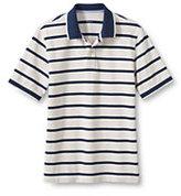 Lands' End Men's Short Sleeve Nautical Stripe Mesh Polo Shirt-Rich Raspberry