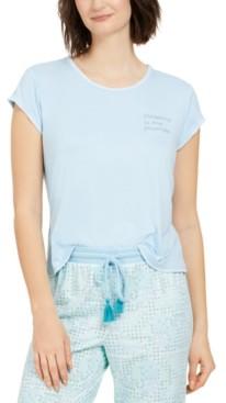 Muk Luks Contrast Stitch Short Sleeves Pajama Top