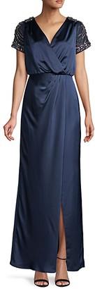 Aidan Mattox Embellished-Sleeve Wrap-Effect Gown