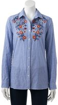 Women's SONOMA Goods for LifeTM Embroidered Pinstripe Shirt