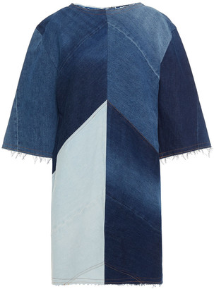Acne Studios Frayed Color-block Denim Mini Dress