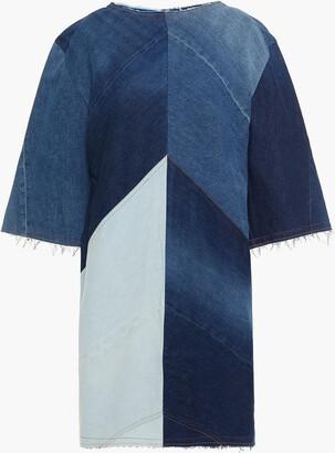 Acne Studios Frayed Paneled Denim Mini Dress