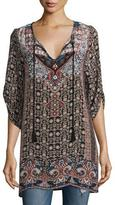 Tolani Lexi Printed V-Neck Tunic, Ebony, Plus Size
