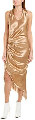 Helmut Lang Fringe Silk-Trim Sheath Dress