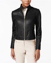 MICHAEL Michael Kors Stand-Collar Leather Jacket