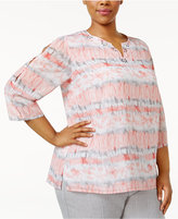 Alfred Dunner Plus Size Rose Hill Collection Studded Printed Top