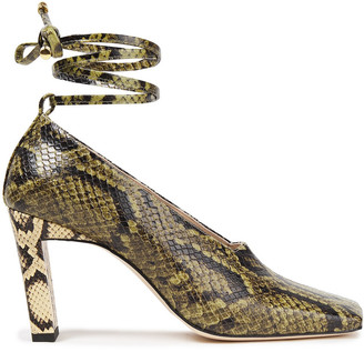 Wandler Isa Lace-up Snake-effect Leather Pumps