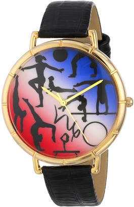 Whimsical Watches Gymnastics Lover Black Leather and Goldtone Photo Unisex Quartz Watch with White Dial Analogue Display and Multicolour Leather Strap N-0840024