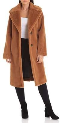 AVEC LES FILLES Notched Collar Bonded Faux Fur Coat