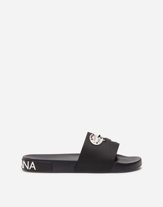 Dolce & Gabbana Rubber And Calfskin Sliders With Patches Of The Designers