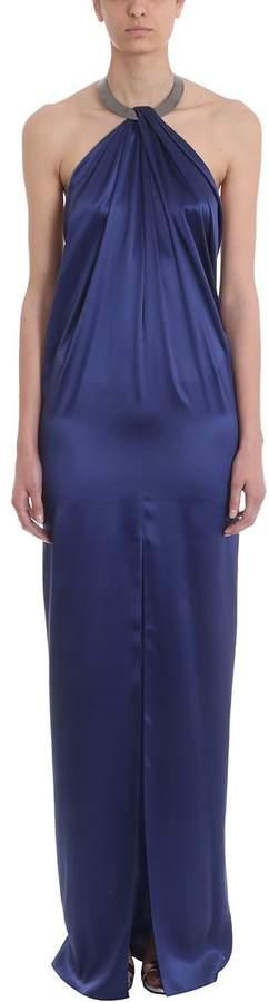 Azzaro Baiser Blue Silk Long Dress