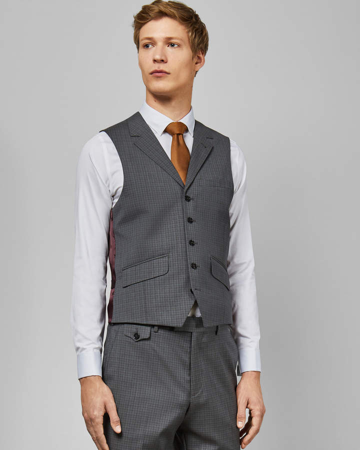 Ted Baker COLMANW Sterling small check waistcoat