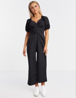 Monki Nala organic cotton short puff sleeve jumpsuit in black