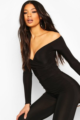 boohoo Off The Shoulder Wrap one piece