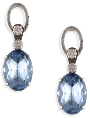 Dannijo Loewy Silverplated & Blue Swarovski Crystal Drop Earrings