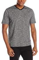 John Henry Men's Short Sleeve Fine Line Slub V-Neck Shirt with Pocket